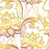 Картина золотого koi чернил нарисованная рукой безшовная Стоковые Фото