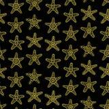 Картина золотых морских звезд безшовная Стоковое Фото