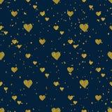 Картина золотых сердец безшовная Стоковое фото RF