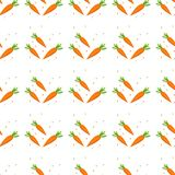 Картина зрелых морковей безшовная Моркови различных размеров оранжевые с зелеными листьями плоскими на белой предпосылке Овощ кор иллюстрация штока