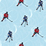 Картина игроков хоккея на льде безшовная Стоковые Изображения