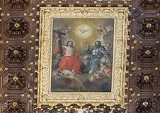 Картина Иисуса на богатом деревянном потолке кессона, di Santa Croce базилики стоковые изображения