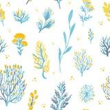 Картина диких растений вектора нарисованная рукой безшовная Поле засаживает иллюстрацию Стоковые Фото