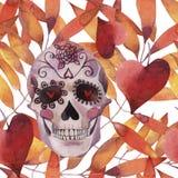 Картина иллюстрации акварели безшовная halloween Пугающий череп с глазами света и листьями осени иллюстрация штока