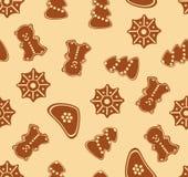 картина имбиря рождества безшовная Стоковые Изображения RF