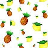 Картина лимонов и ананасов безшовная также вектор иллюстрации притяжки corel Стоковое Фото