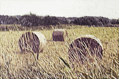 Картина импрессионизма: Деревенский вид стоковое фото rf