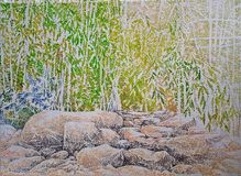 Картина импрессионизма леса утесов каменная глубокая Стоковое Изображение RF