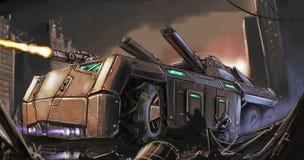 Картина искусства концепции Пост-апоралипсических бронированного транспортного средства или танка воюя в руинах города стоковое фото rf