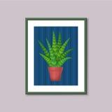 Картина искусства с succulent в рамке на серой предпосылке иллюстрация вектора