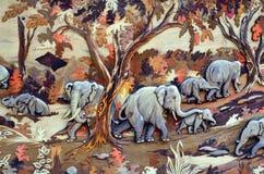 Картина, искусство, слон, одичалая жизнь, красота, природа Стоковые Изображения RF