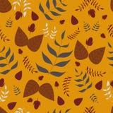 Картина листьев и жолудей безшовная иллюстрация штока