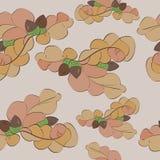 Картина листьев и жолудей дуба безшовная иллюстрация вектора