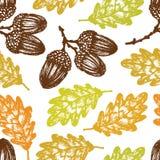 Картина листьев и жолудей дуба осени бесплатная иллюстрация