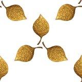 Картина листьев Предпосылка золота покрашенная рукой безшовная Иллюстрация абстрактных лист золотая Стоковые Фото