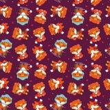Картина лисы падения шаржа безшовная Стоковые Фото