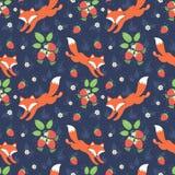 Картина лис и одичалых клубник безшовная Стоковое Фото