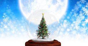 Картина и луна рождества глобуса и снежинки снега рождественской елки Стоковые Фотографии RF