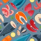 Картина иллюстрации вектора продукта моря безшовная Стоковое Изображение RF