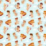 Картина иллюстрации вектора стиля шаржа ангелов купидона дня валентинки semless Стоковое Изображение RF