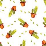 Картина кактуса акварели безшовная в векторе Покрашенная рукой винтажная предпосылка сада иллюстрация штока