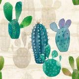 Картина кактуса безшовная Предпосылка акварели нарисованная рукой иллюстрация вектора