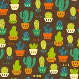 Картина кактуса/безшовная предпосылка с кактусом и Succulent иллюстрация штока