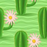 Картина кактуса безшовная Стоковое Изображение RF