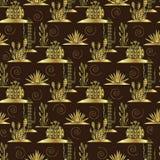 Картина кактуса золота безшовная Стоковые Фотографии RF