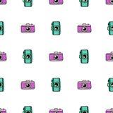 Картина камеры притяжки руки безшовная Предпосылка вектора бесконечная в стиле Doodle иллюстрация штока