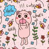 Картина карточки пчелы медведя безшовная Стоковое Изображение