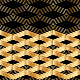 Картина карточки черноты оформления золота Шеврона безшовная Стоковые Изображения