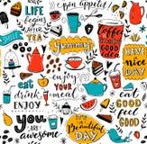 Картина кафа с баками чая doodle, чашками, вдохновляющими цитатами и десертами Кофе всегда хорошая идея Съешьте хорошее, чувство иллюстрация вектора