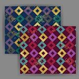 Картина квадрата японского стиля вектора безшовная с влиянием штемпеля сусального золота Стоковая Фотография RF