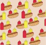 Картина кетчуп, мустарда и хот-дога Стоковое Изображение