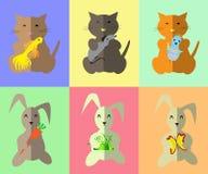 Картина Киска и зайчик с игрушкой Стоковые Изображения RF
