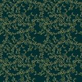 Картина китайского карпа Koi безшовная Предпосылка вектора глубокая ая-зелен с рыбами золота Стоковая Фотография RF