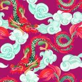 Картина китайского дракона безшовная Азиатская иллюстрация дракона иллюстрация штока