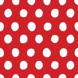 Картина классического вектора безшовная с белой нарисованными рукой точками польки на красной предпосылке Стоковое фото RF