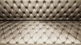 Картина классической кожаной софы коричневые предпосылка и текстура софы Стоковое фото RF
