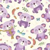 Картина коалы стиля шаржа вектора безшовная Стоковые Фото