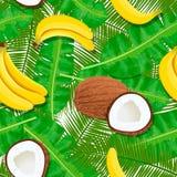 Картина кокоса, бананов и листьев ладони безшовная Зрелый и сочный Шаблон ярлыка Стоковые Изображения
