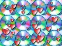Картина - КОМПАКТНЫЙ ДИСК и красные сердца Стоковая Фотография RF