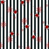 Картина конспекта безшовная геометрическая горизонтальная striped с черно-белыми нашивками цветет и снежинка также вектор иллюстр иллюстрация штока