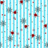 Картина конспекта безшовная геометрическая горизонтальная striped с голубыми и белыми нашивками цветет и снежинка также вектор ил иллюстрация штока