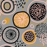 Картина конспекта вектора безшовная с лимонами, кругами, точками иллюстрация штока