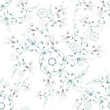 Картина конспекта иллюстрации флористическая безшовная на белой предпосылке бесплатная иллюстрация