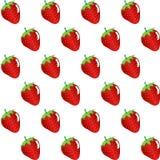 Картина конспекта контура плодоовощ клубники безшовная на белой предпосылке Стоковое Фото
