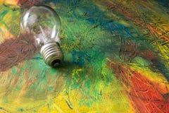 Картина конспекта с электрической лампочкой Масло смешивания Стоковое фото RF