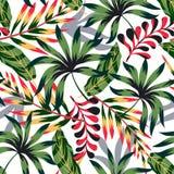 Картина конспекта тенденции тропическая безшовная с яркими листьями и заводами на светлой предпосылке o Печать джунглей Флористич стоковые фото